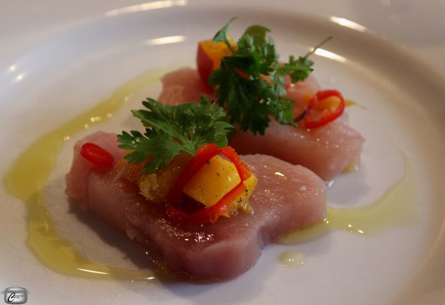 BC Albacore tuna with Ontario pickled peaches and jalapeno