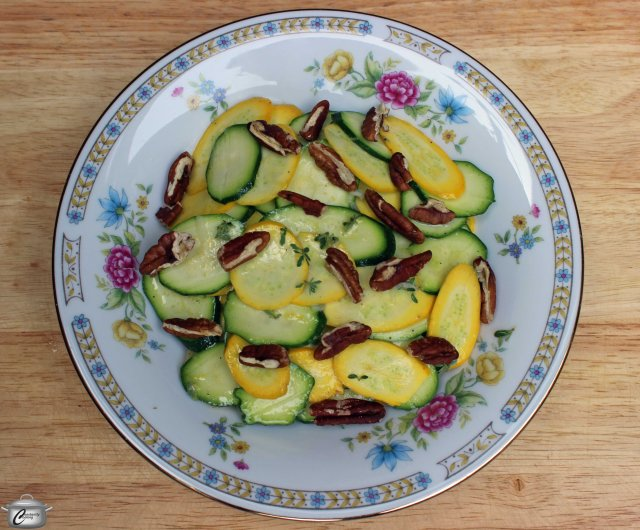 zuchinni salad with lemon thyme vinaigrette