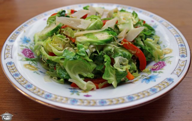 After a lifetime of avoiding Brussels sprouts, I am now a big fan of them, thanks to this tasty salad recipe which features, leeks, red peppers, a delicious vinaigrette and a topping of Parmesan.