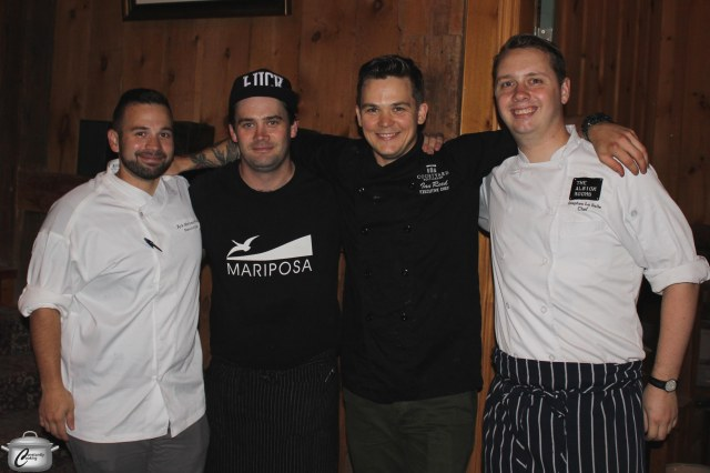 Kyle Mortimer-Proulx, Danny Mongeon, Ian Reed and Stephen LaSalle served up ten delicious courses at the Flux 3 dinner, held at The Grange Winery in Prince Edward County.
