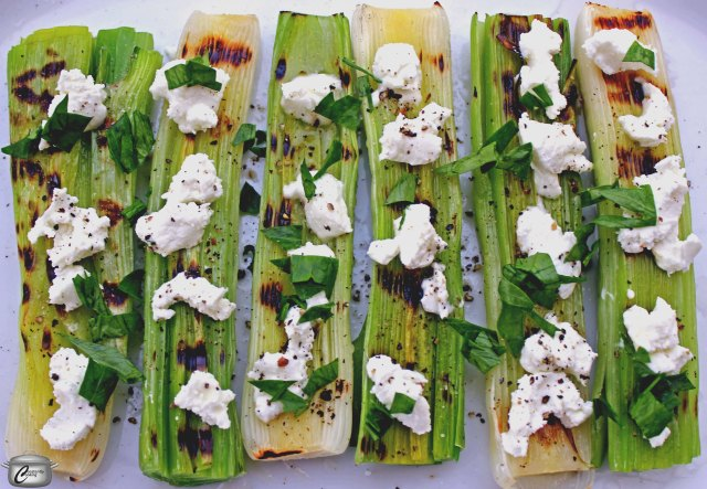 Garden fresh leeks are simply scrumptious when grilled and sprinkled with chevre and fresh herbs.