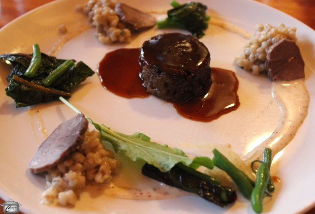 Stephen LaSalle's playful 'Tongue in Cheek' course included pigs' cheeks braised in Barley Days beer, a pearled barley risotto (a tribute to The County's history) cooked in guanciale stock, pigs' tongue plus locally-sourced sorrel and green beans. This was served with a 2009 Estate Cabernet Franc.