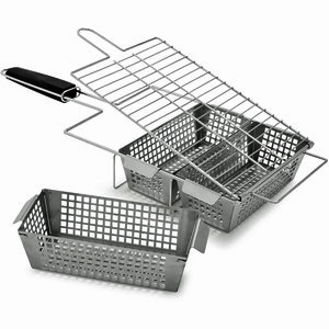 three compartment grill basket
