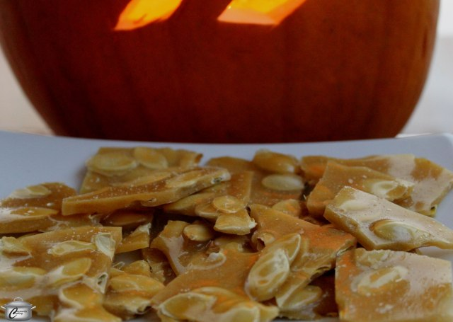 Pumpkin seed brittle is a grown up candy treat.