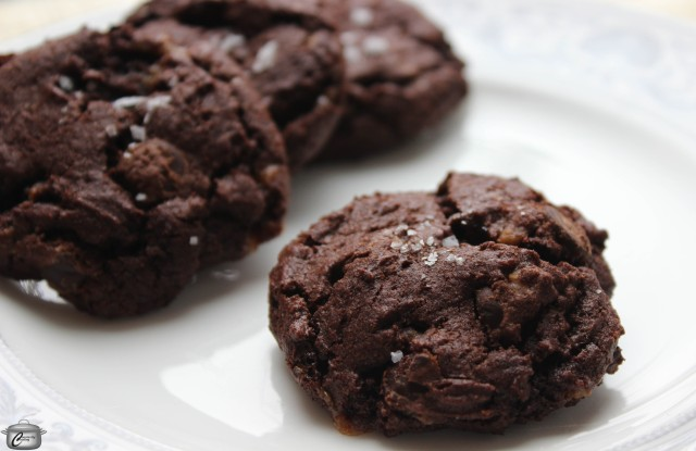These delectable brownie-like cookies are packed with deliciousness including dark chocolate, skor bits and a hint of chili powder!