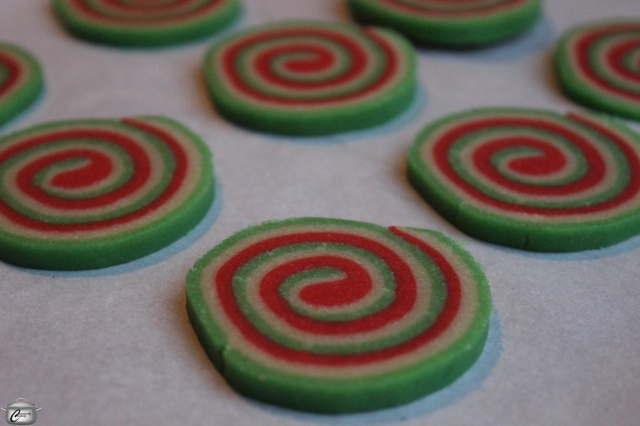 Pinwheel cookies spread out while baking so be sure to place them at least 1/2 inch (1.25 cm) apart on the parchment-lined baking sheet.