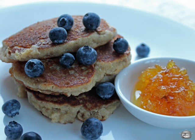 These gluten-free pancakes are delicious and far more filling than traditional flour-based ones. The warm caramelized pineapple jam is a perfect accompaniment.