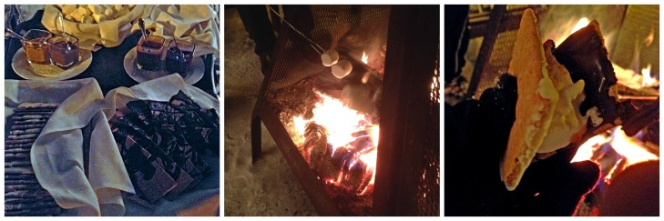 Making gourmet s'mores over a campfire as snow was falling was the perfect way to end our 'back to basics' day.