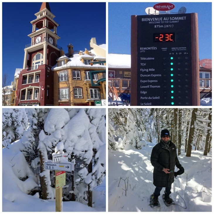 The picturesque village of Mont Tremblant is beautiful all year round. Although it was a bitterly cold day that required Michelin-man style clothing, the brilliant sunshine and a brisk pace on the trails soon had us all warmed up.