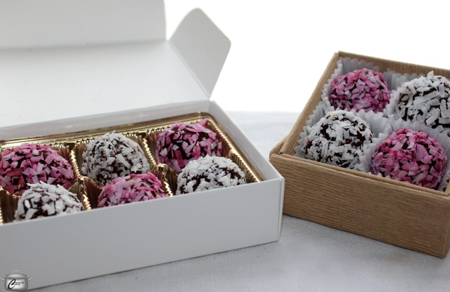 Small boxes and mini muffin tin liners are great for packaging truffles.