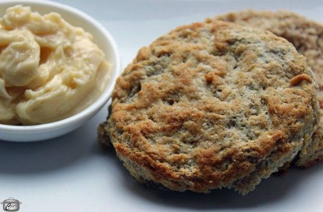 Piping hot corn flour biscuits taste even better when served with maple butter.