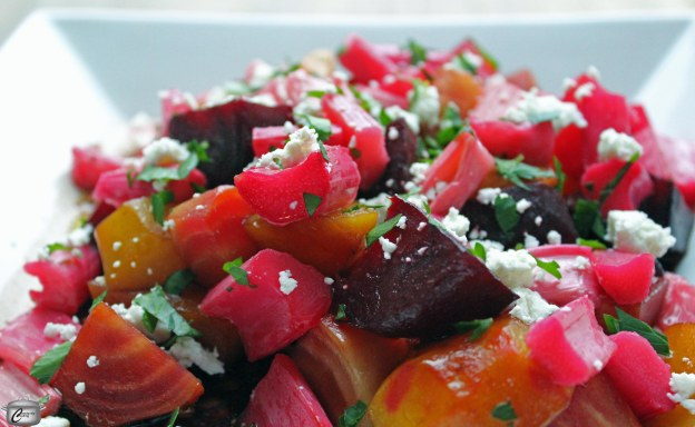 This drop-dead gorgeous salad tastes as good as it looks, thanks to zingy rhubarb, sweet roasted beets with a tangy balsamic dressing and creamy goat cheese.