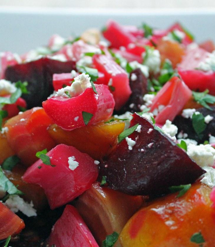 roasted beet and rhubarb salad