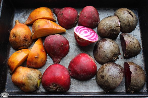 A combination of golden, candy cane and red beets makes this salad even prettier.