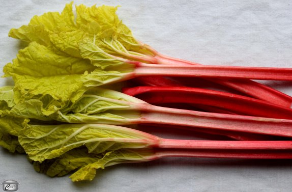 Winter or forced rhubarb  is typically sweeter than what's grown outdoors. You can tell the difference thanks to the pale leaves and darker stems.