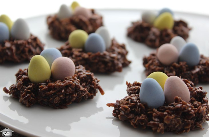Chocolate Macaroon Nests take just five minutes to make and can be decorated with your favourite Easter candy for a centrepiece-worthy dessert.