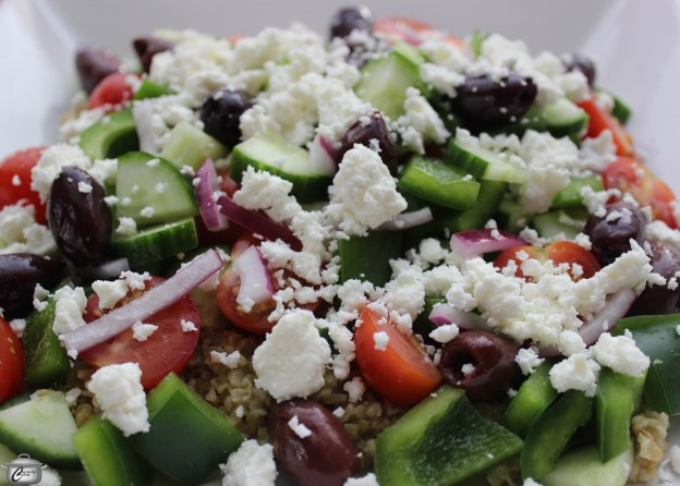 Freekeh makes a great base for Greek Salad, providing a riot of colour, flavour and nutrition.