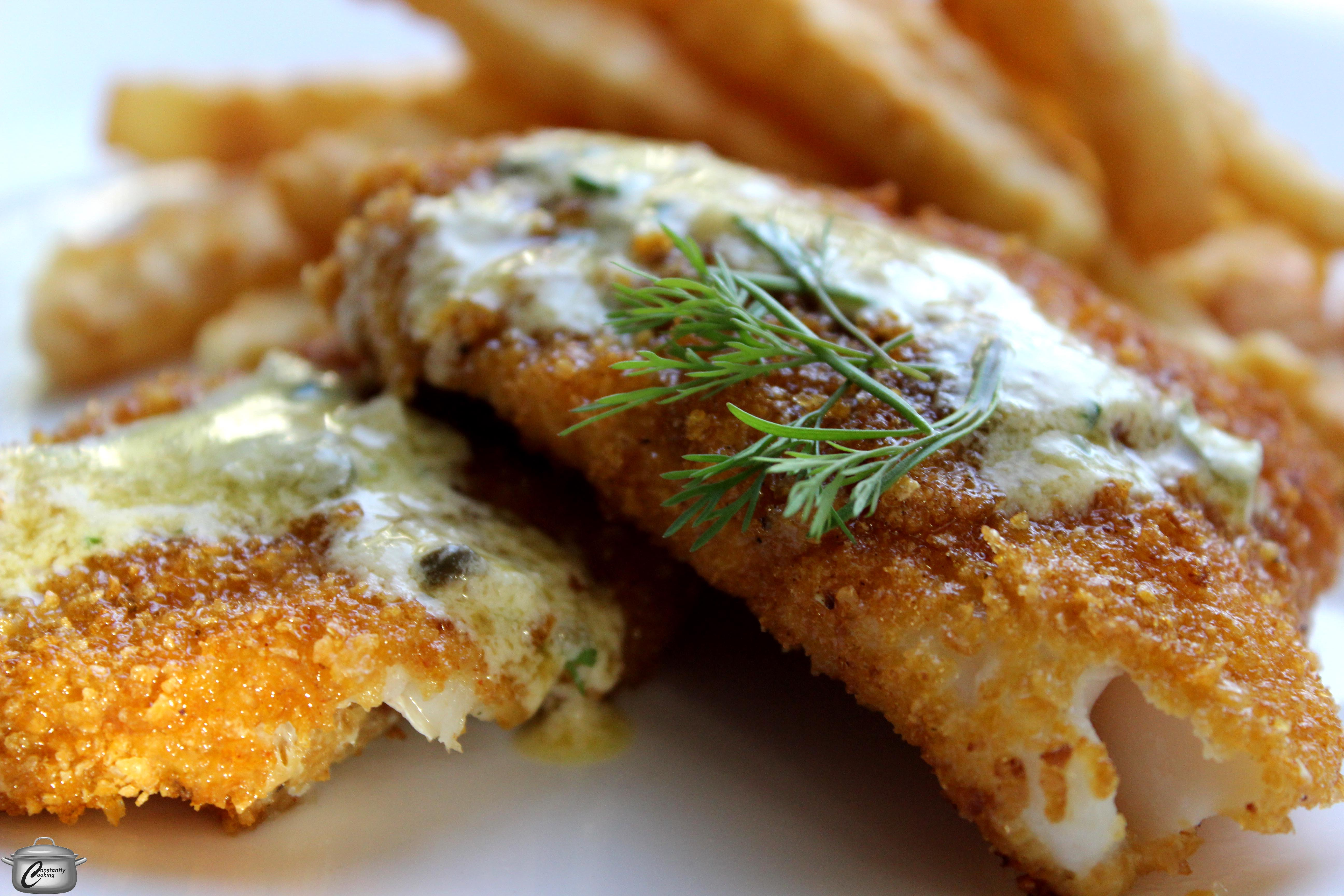 Crunchy pan fried cod fillets constantly cooking for Cod fish fillet