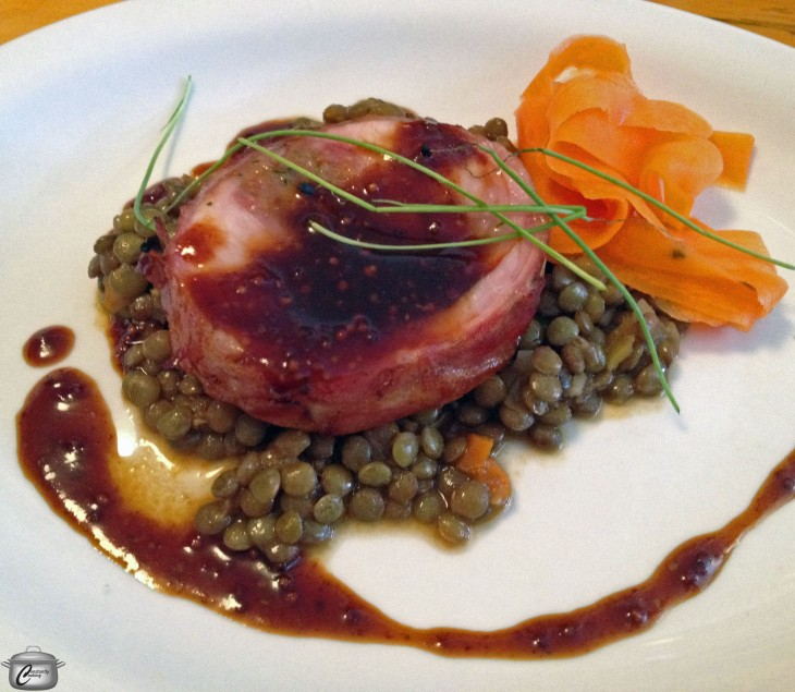 Chef Chris Deraiche presents a flavourful rabbit and lentil dish; quick pickled carrot ribbons offer a great flavour punch.