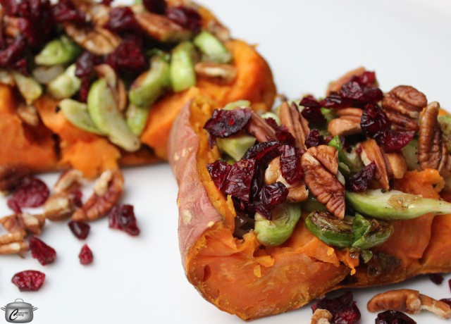 Elevate your baked sweet potatoes by topping them with sauteed Brussels sprouts, dried cranberries and pecans.