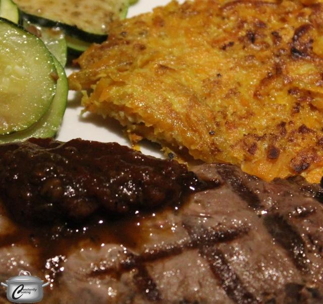 Sweet potato latkes were a fantastic side dish to serve with grilled wild boar steaks.