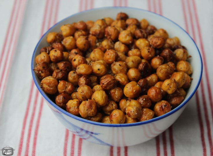 Soaking chickpeas in hot cider vinegar prior to roasting until crispy gives them an excellent flavour.