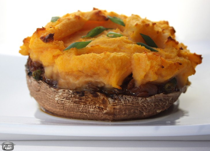 Portobello mushrooms stuffed with a flavourful lentil mixture and topped with mashed potatoes make a rich, satisfying vegan dish that appeals to meat lovers as well.