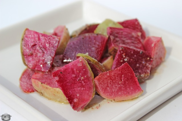 Watermelon radishes roasted in butter make a delicious, pretty vegetable side dish.