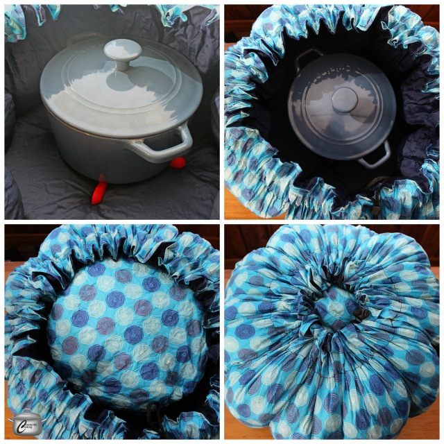 The Wonderbag is easy to use - just set the piping hot pot on a trivet and cinch the bag shut. Leave it alone and in a while your meal is ready!