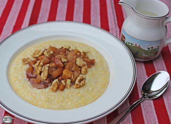 Breakfast Polenta with apple compote