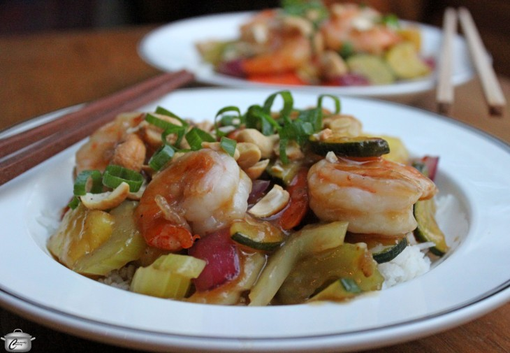 Perfectly cooked shrimp and vegetables in a sweet and sour sauce that is truly delicious. A great mostly make-ahead meal!