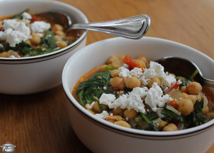 Hearty Greek-style stew made with chickpeas, tomatoes, spinach, mint and lemon