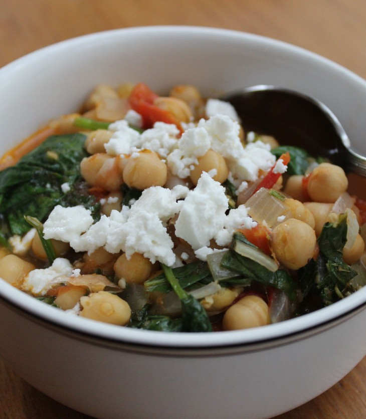 Greek-style tomato, chickpea and spinach stew