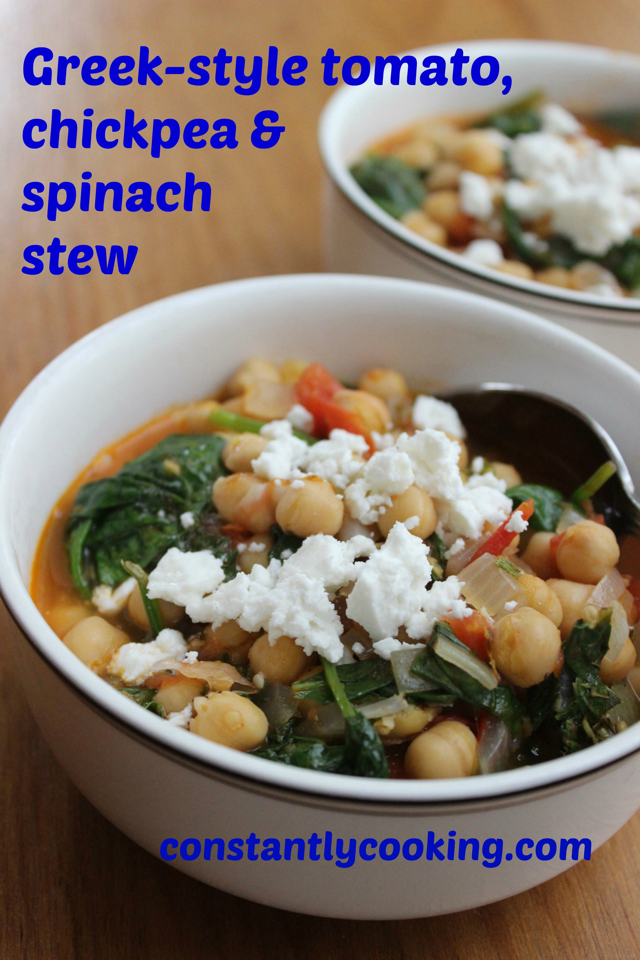 Greek-style tomato, spinach and chickpea stew is hearty and flavourful