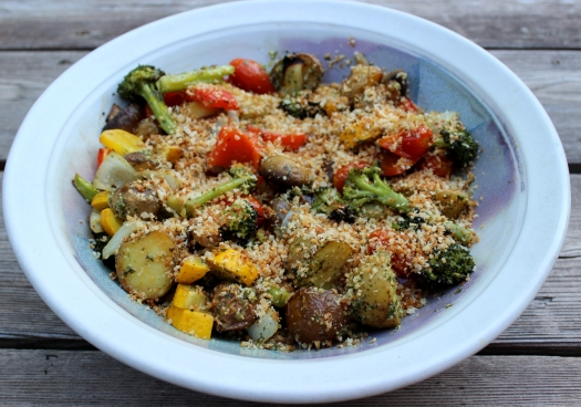 Oven Roasted Vegetables with toasted panko