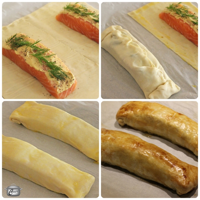 Assembling the Salmon in Puff Pastry