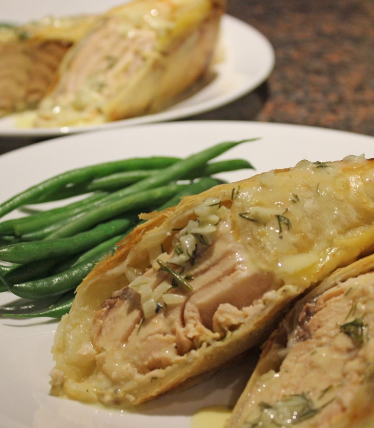 Salmon in Puff Pastry with Dill Sauce