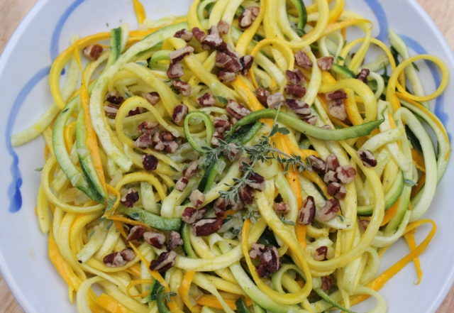 Raw Zucchini noodles with lemon thyme vinaigrette