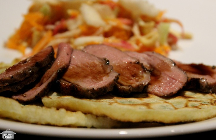 Chinese 5 spice duck with scallion pancakes