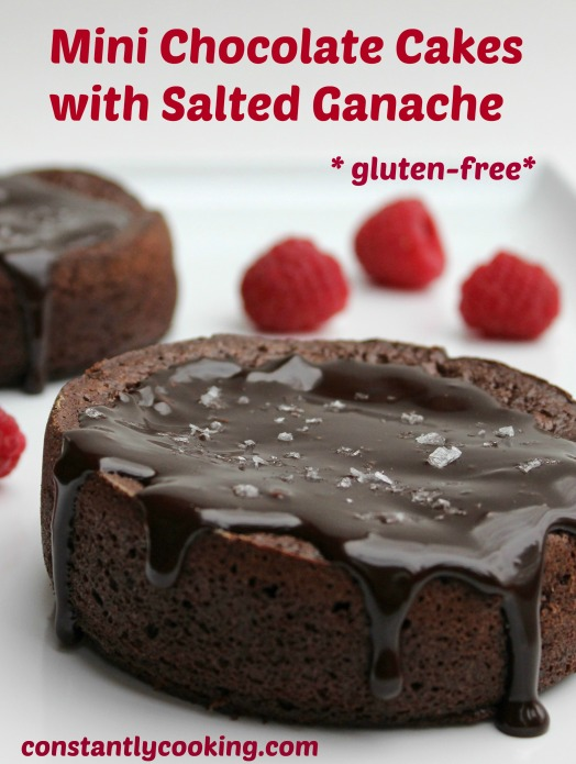 Mini Chocolate Cakes with Salted Ganache