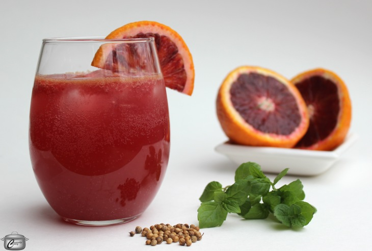 Blood Orange Mint and Coriander Gin Smash