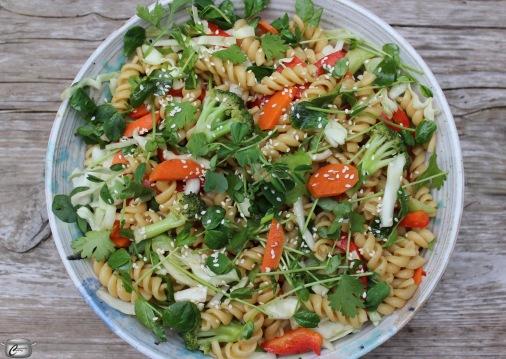 Vegan pasta salad with Vietnamese-style dressing