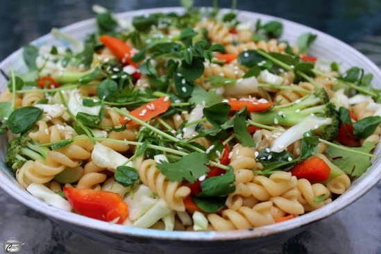 Vegan pasta salad with Vietnamese style dressing