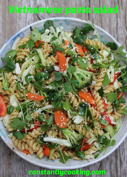 Vegan pasta and vegetable salad with Vietnamese-style dressing