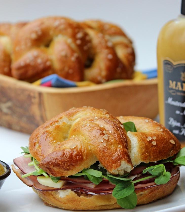 soft-baked pretzel sandwich