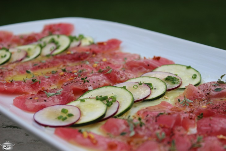 Tuna crudo with shaved vegetables and lime vinaigrette hero watermarked