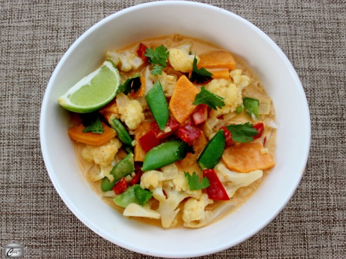 red curry soup with vegetables