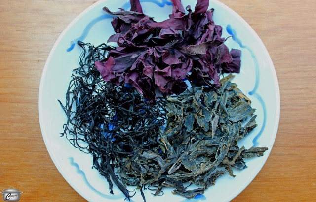 dry wakame arame and dulse for seaweed salad