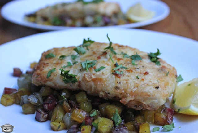 crispy halibut with roasted beets