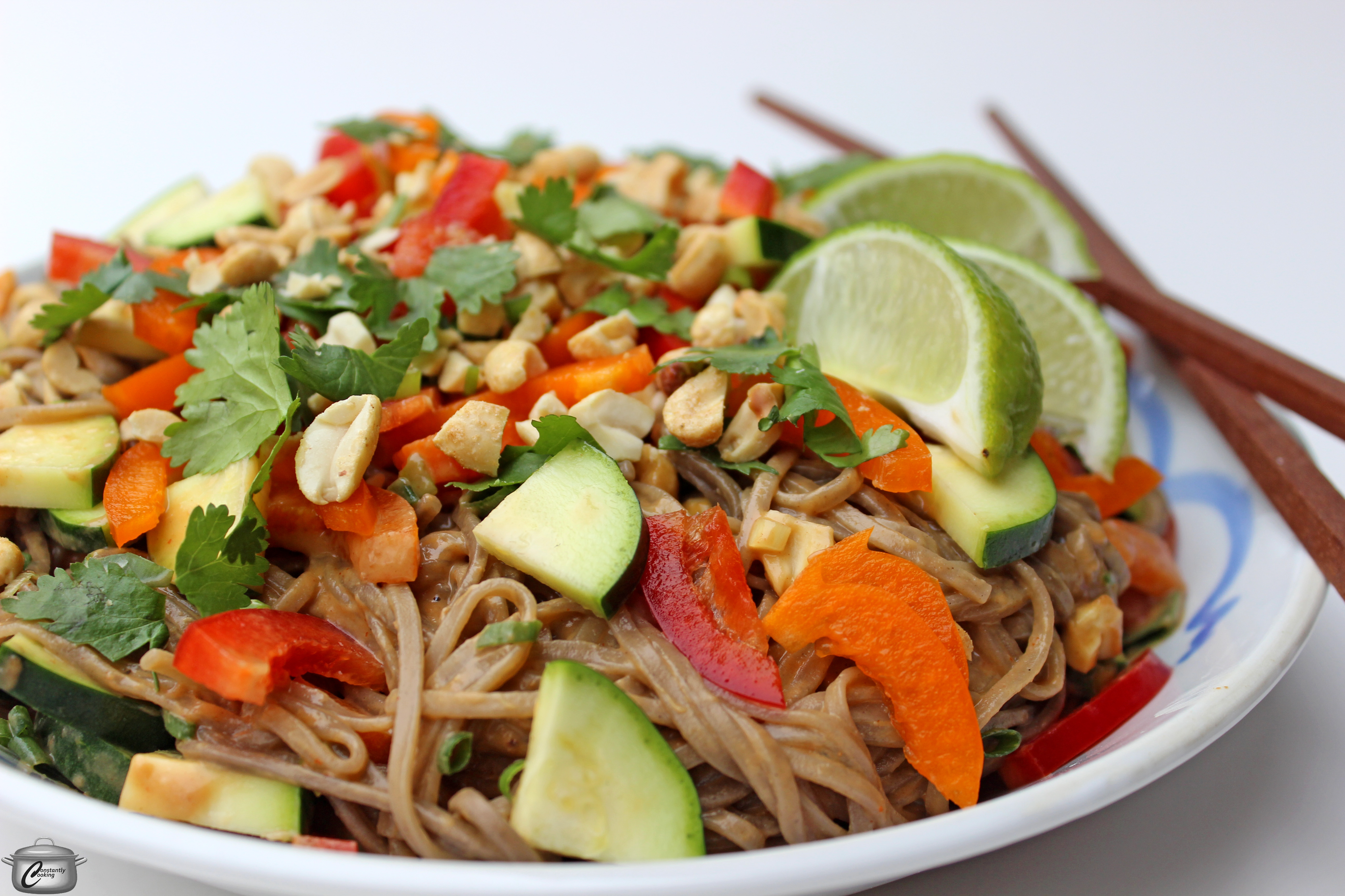 Soba noodle salad with creamy peanut sauce | Constantly Cooking